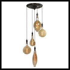 Exposed Bulb Five-Light Chandelier, Antique Lighting
