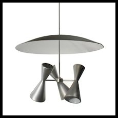 Substantial Mid-century Modern Conicle Chandeliers with Reflectors