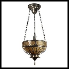 Neoclassical Silver Plate Pendant with Slag Glass, Antique Lighting