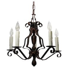 Tudor Five-Light Chandelier in Iron, Antique Lighting