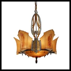 Antique Art Deco Slip Shade Chandelier