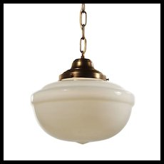 Brass Schoolhouse Pendant Light with Original Shade
