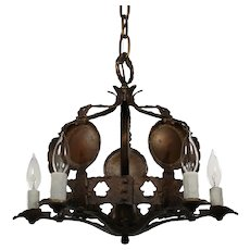Antique Tudor Cast Bronze Chandelier
