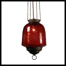 Antique Oil Lamp Chandelier with Original Shade