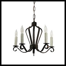 Antique Five Light Iron Chandelier