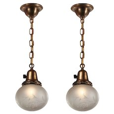 Pendant Lights with Hand Cut Glass Shades, Antique Lighting