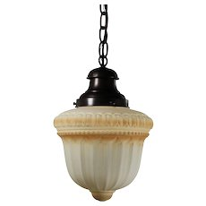 Antique Pendant Light with Original Painted Glass Shade, Early 1900s