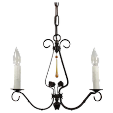 Iron Two Light Chandelier, Antique Lighting