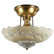 Vintage Art Deco Flush Mount Fixture, c.1930