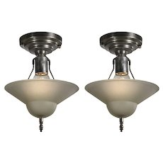 Vintage Flush Mount Light Fixtures with Original Glass Shades, c.1940