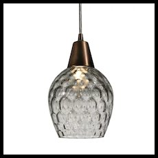 Vintage Pendant Light with Glass Shade, c.1940