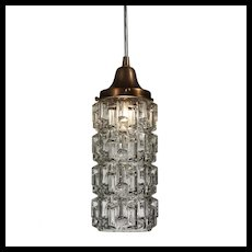 Vintage Pendant Light with Cylindrical Glass Shade, c.1940