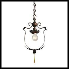 Antique Iron Pendant Light, Early 1900's