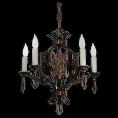 Antique Iron Art Deco Chandelier with Shields