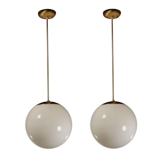 Substantial Mid-Century Modern Pendants with Ball Shades