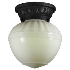 Antique Neoclassical Flush Mount with Glass Shade