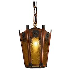 Antique Lantern with Amber Granite Glass, Japanned Finish