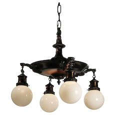 Antique Neoclassical Chandelier with Original Japanned Finish