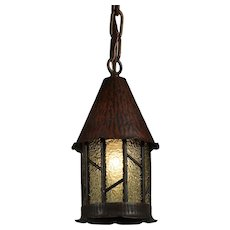 Antique Tudor Lantern with Original Glass, c.1920