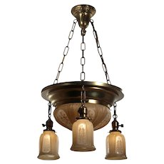 Antique Neoclassical Inverted Dome Chandelier with Original Painted Shades, Early 1900's