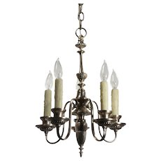 Antique Neoclassical Silver Plate Chandelier, c.1910