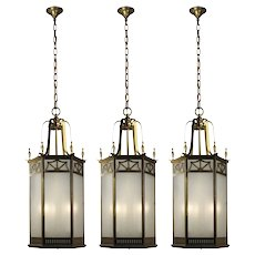 Antique Brass Lanterns with Frosted Glass, Early 1900's