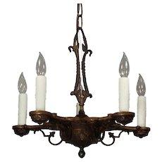 Antique Tudor Five-Light Cast Bronze Chandelier