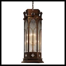Gothic Revival Pendant Light with Granite Glass, Antique Lighting