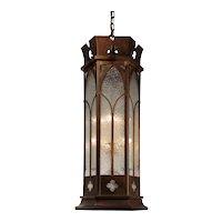 Gothic Revival Pendant Light with Granite Glass, Antique Lighting