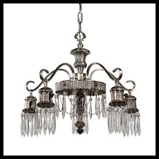 Antique Neoclassical Silver Plate Chandelier with Prisms, c. 1920