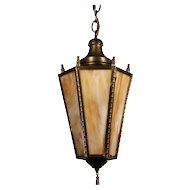 Neoclassical Brass Lantern with Original Slag Glass, Antique Lighting