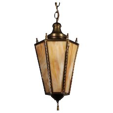 Neoclassical Brass Lantern with Original Slag Glass, Antique Lighting