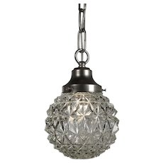 Vintage Pendant Light with Glass Shade