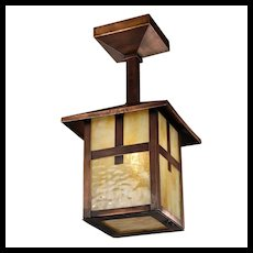 Arts & Crafts Copper Flush Mount Lantern, Antique Lighting