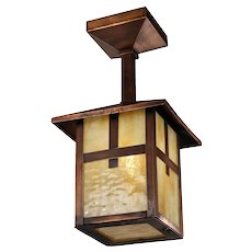 Arts & Crafts Copper Flush Mount Lantern, Antique Lighting
