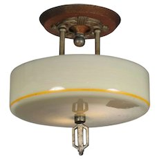 Art Deco Semi-Flush Mount Fixture, Antique Lighting