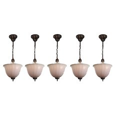 Antique Inverted Dome Pendant Lights, Early 1900's