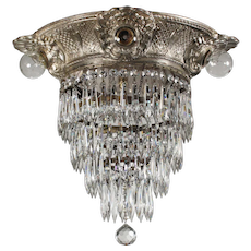 Antique Neoclassical Four-Tiered Flush Mount Chandelier