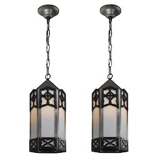 Antique Two-Tone Lanterns with Glass, Early 1900s