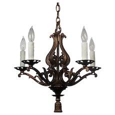 Antique Five-Light Cast Iron Chandelier