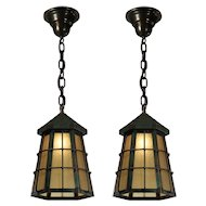 Antique Copper Pendant Lights, Early 1900's