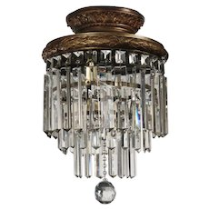 "Antique Neoclassical Flush Mount ""Wedding Cake"" Chandelier"