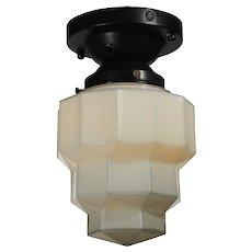 Art Deco Flush Mount with Flash Glass Shade, Antique Lighting