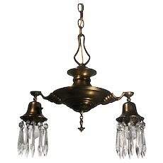 Brass Two Light Chandelier with Prisms, Antique Lighting