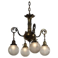 Neoclassical Chandelier with Wheel Cut Shades, Antique Lighting