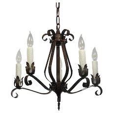 Antique Wrought Iron Five-Light Chandelier