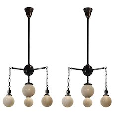 Antique Four-Light Chandeliers with Glass Globes, Early 1900's