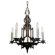 Antique Cast Bronze Art Deco Chandelier by ISCO