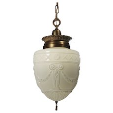 Antique Neoclassical Pendant Light with Original Shade