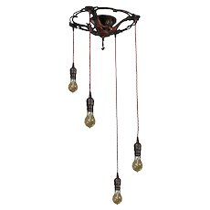 Antique Semi Flush-Mount Chandelier with Exposed Bulbs
